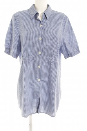 Maxima Fashion Short Sleeve Shirt steel blue-white check pattern simple style