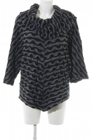 Maxima Fashion Poncho de punto negro-gris oscuro estampado con diseño abstracto