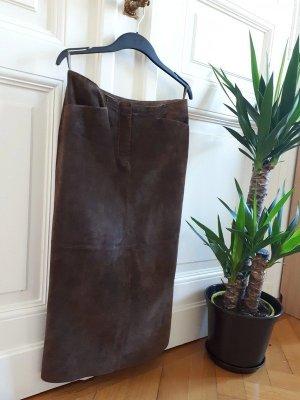 TCM Falda de cuero marrón oscuro