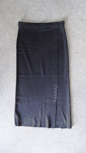 Maxi Skirt black-silver-colored mixture fibre