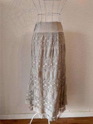 Falda de encaje beige claro-blanco puro Algodón