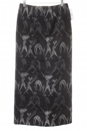 Maxi Skirt black-silver-colored abstract pattern wet-look