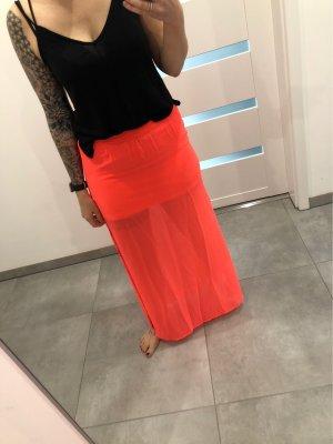 H&M Falda larga rosa neón