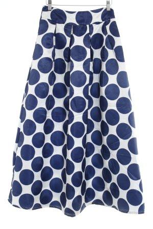 Falda larga blanco-azul estampado a lunares estilo extravagante