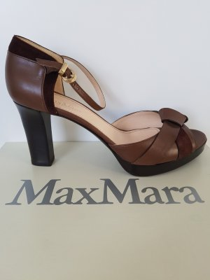 MaxMara Highheels mit Plateau, braun, Gr.37, Voll-Leder