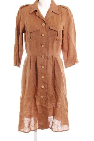 MaxMara Weekend Blusenkleid bronzefarben Webmuster Casual-Look