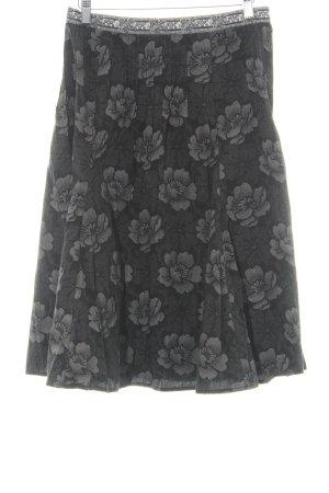 MaxMara Weekend Glockenrock schwarz-creme florales Muster Casual-Look