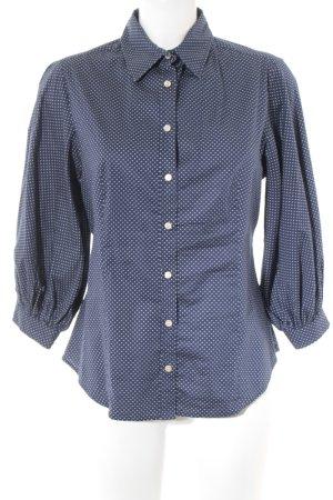 MaxMara Weekend Langarmhemd dunkelblau-hellbeige Punktemuster Casual-Look