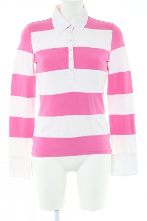 MaxMara Weekend Polo Shirt pink-white striped pattern casual look