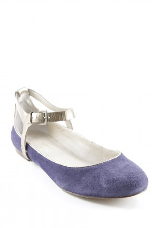 MaxMara Weekend Riemchen Ballerinas goldfarben-dunkelviolett Casual-Look