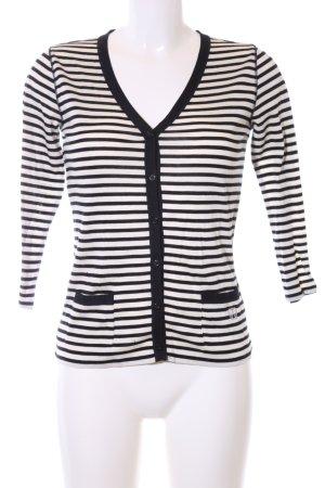 MaxMara Weekend Strickjacke weiß-schwarz Streifenmuster Casual-Look
