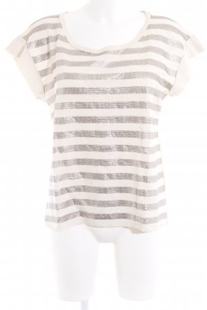 MaxMara Weekend Camiseta crema-color plata estampado a rayas estilo fiesta