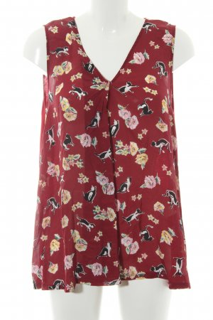 MaxMara Weekend Top con volantes rojo oscuro estampado floral look casual