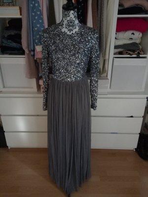Maya Deluxe Pailletten Kleid Abendkleid Tüllkleid Asos Grau 38