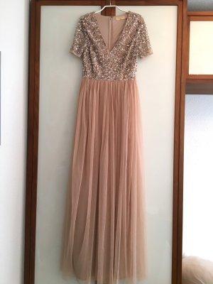 Maya Tall Abendkleid, Abiballkleid, Pailletten, nude, neuwertig