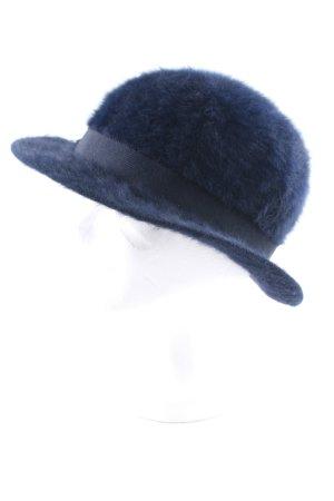 Mayser-Milz Chapeau en laine bleu foncé style classique