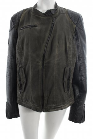 Maze Bikerjacke schwarz-olivgrün Washed-Optik