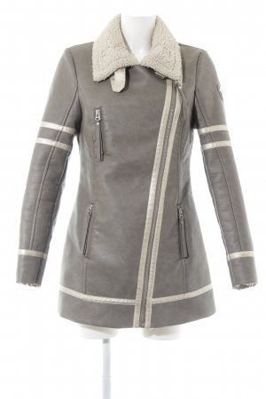 Maze Faux Leather Jacket grey brown-cream casual look