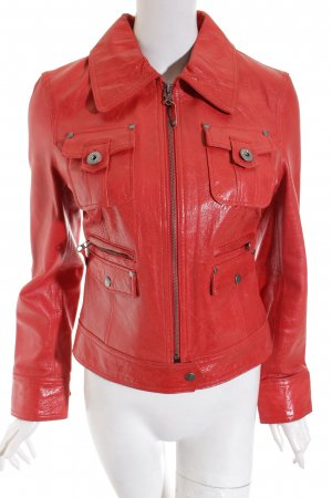 Maze Lederjacke rot Street-Fashion-Look