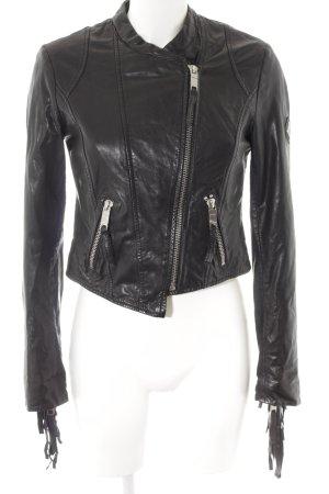 Maze Lederjacke schwarz-silberfarben Biker-Look