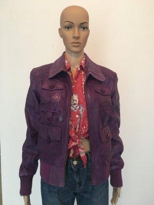 Maze lila purple violett Lederjacke Leder Blouson Strickbund Strick gefüttert weich Luxus Designer