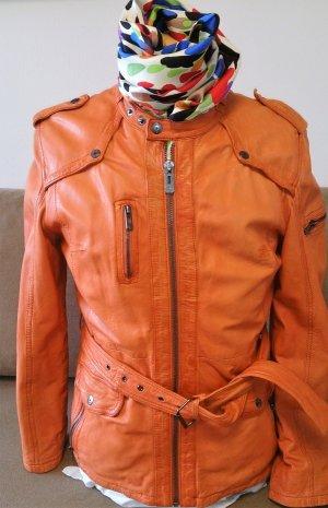 Maze orangefarbene weiche Lederjacke