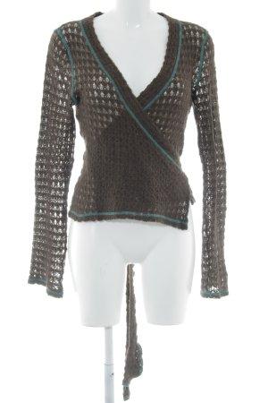 mazel Cache-cœur en tricot brun foncé-vert menthe motif tricoté lâche