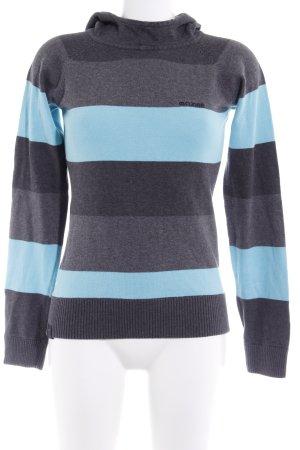 Mazine Kapuzenpullover grau-hellblau Streifenmuster sportlicher Stil