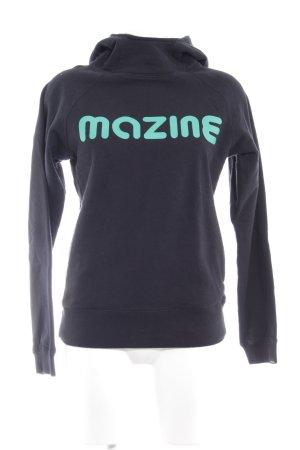 Mazine Kapuzenpullover schwarz-hellgrün Schriftzug gedruckt Casual-Look