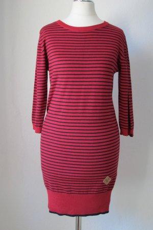 Mazine Long Pullover / Kurzes Feinstrickkleid - Rot /Dunkeblau gestreift