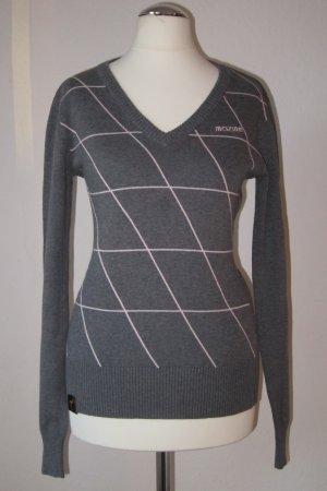 Mazine Pullover / Feinstrickpullover - Grau mit geometrischem Muster in hellrosa