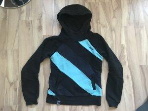 Mazine pullover schwarz blau mit kapuze hoddie größe s 36