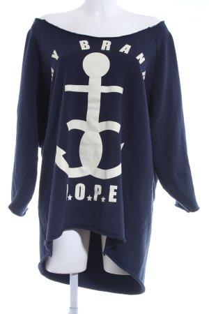 MB My Brand Oversized Pullover hellgelb-dunkelblau Motivdruck Kuschel-Optik