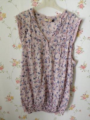 MBJ V-hals shirt stoffig roze-korenblauw