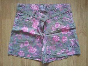 Mbj Shorts Rosen Blumen Sommer floral 36 S khaki pink geblümt