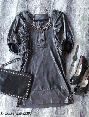 mbyM Vestido de cóctel taupe-color plata