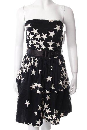 mbym Corsagenkleid schwarz-weiß Sternenmuster Empire-Look