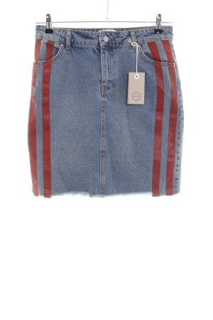 mbyM Jupe en jeans bleu-rouge style décontracté