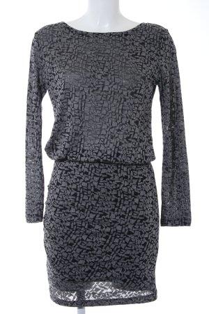 mbyM Jerseykleid grau-schwarz abstraktes Muster Casual-Look