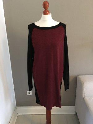 MbyM Kleid Strickkleid zweifarbig bordeaux schwarz S M