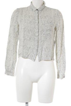 mbyM Langarm-Bluse weiß-schwarz Punktemuster Business-Look