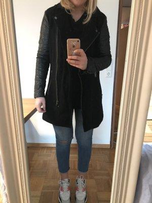MbyM Mantel aus Wolle mit Lederimitatärmeln