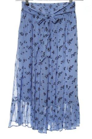 mbyM Midirock blau-schwarz Blumenmuster Casual-Look