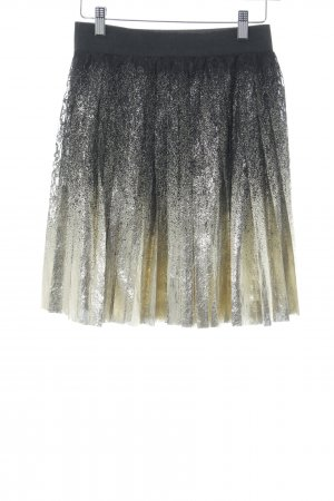 mbyM Pleated Skirt black-gold-colored spots-of-color pattern elegant