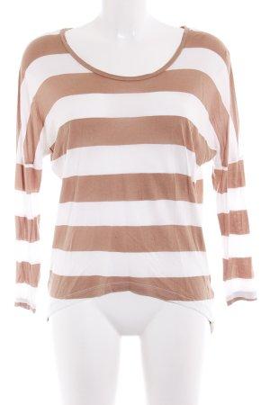mbyM Gestreept shirt camel-wit gestreept patroon casual uitstraling