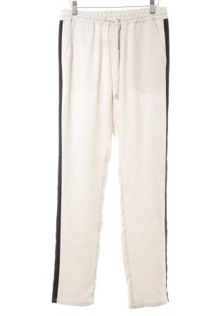 mbyM Pantalon en jersey crème-noir style décontracté