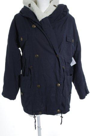 mbyM Winterjacke dunkelblau-wollweiß Kuschel-Optik