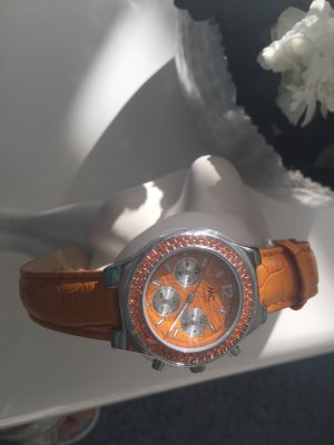 Watch With Leather Strap light orange