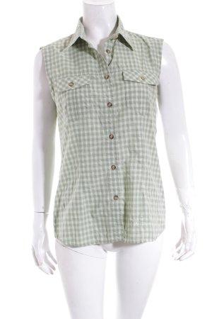 McKinley ärmellose Bluse hellgrün-weiß Karomuster Country-Look