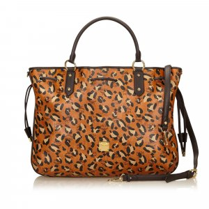 MCM Animal Print Leather Tote Bag